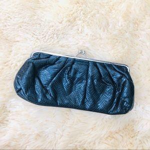 ALDO Black and silver snake print clutch purse